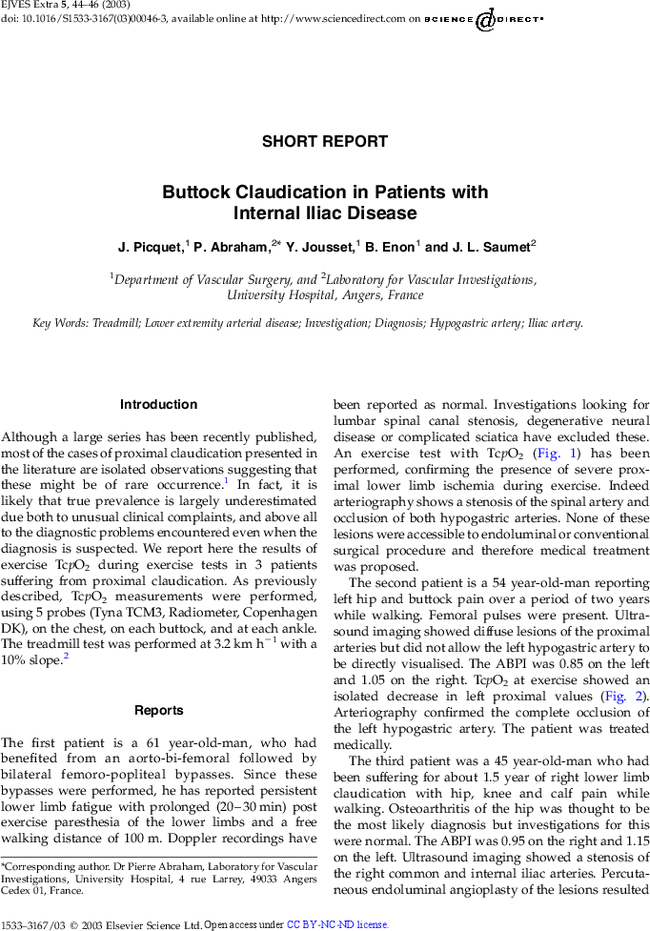 Buttock Claudication in Patients with Internal Iliac Disease - EJVES ...